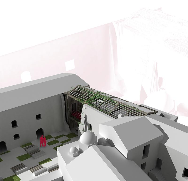 Visual 1- Riuso di uno degli ambienti monastici sviluppato nel progetto 'SpiritoDiVino'.